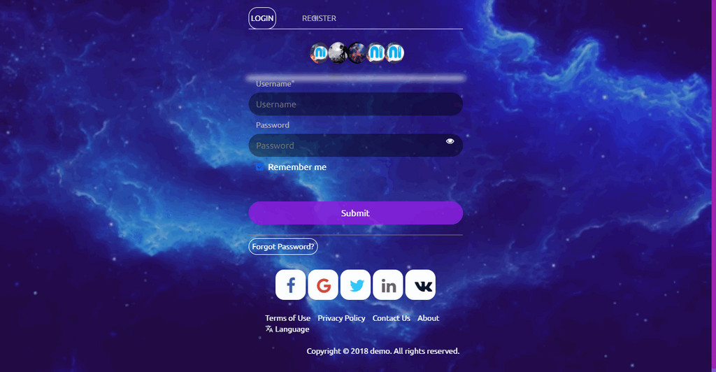 Galaxy landing page For Wowonder